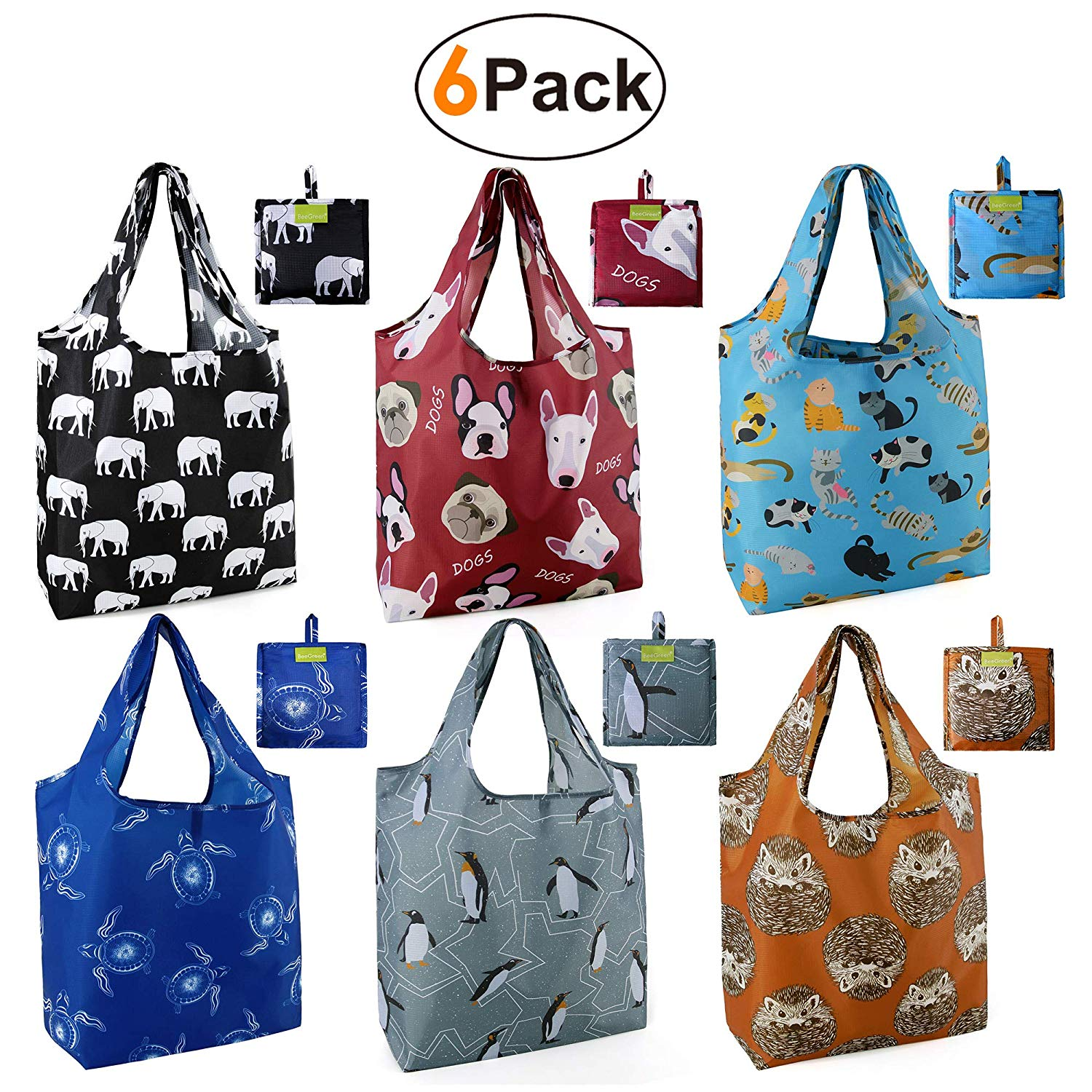 6 pack reusable shopping bags with turtle