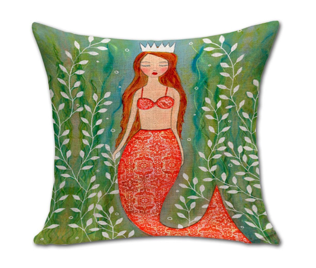 AISHN mermaid cushion cover with red hair