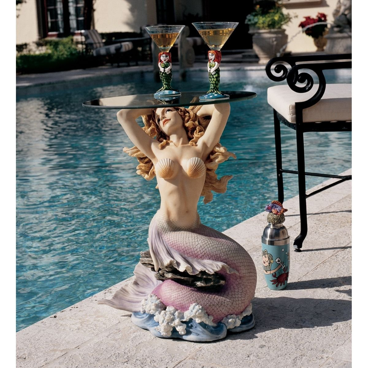 Design Toscano Mermaid of Magellan's Cove Glass-Topped Sculptural Table
