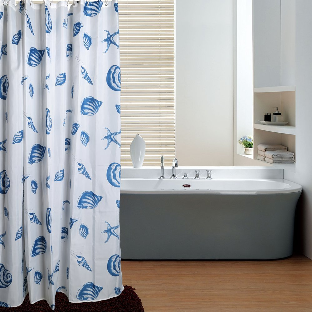 Lesoleil Sea Shell Blue Shower Curtain extra