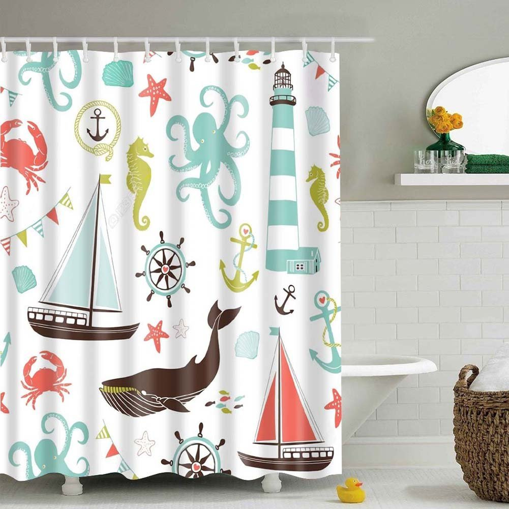 MORESAVE sea theme shower curtain