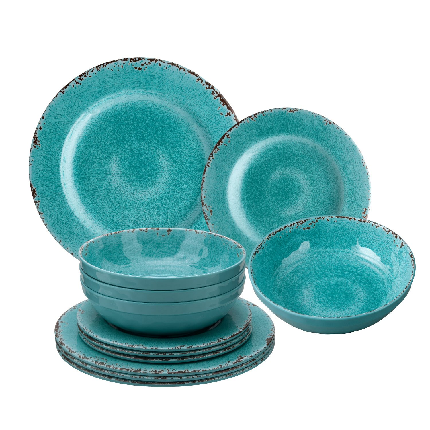 Melamine Crackle Set of 12 Turquoise Dinner Set
