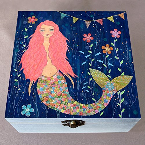 Pink Mermaid Small Wooden Jewellery box