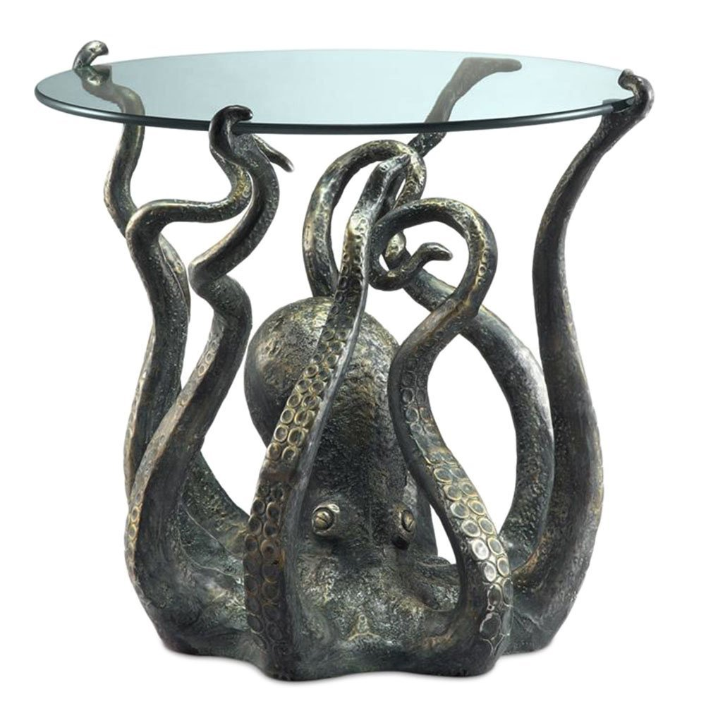 SPI Cast Aluminum Octopus Glass Top End Table