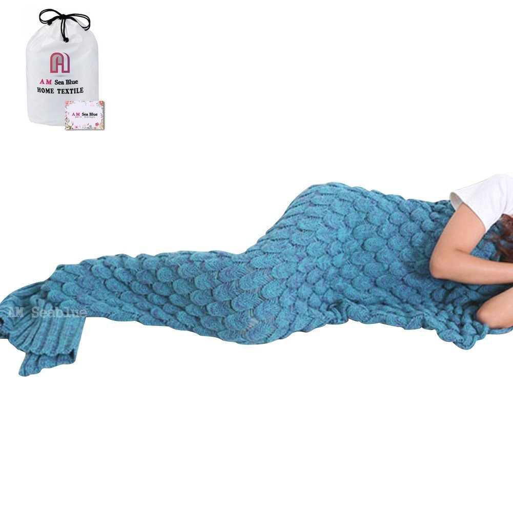 Seablue Handmade Knitted Mermaid Tail Blanket