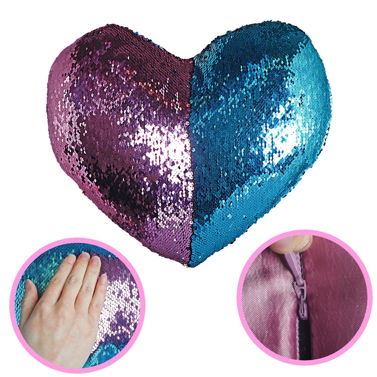 U-miss Mermaid Scale Heart Cushion Two Tone