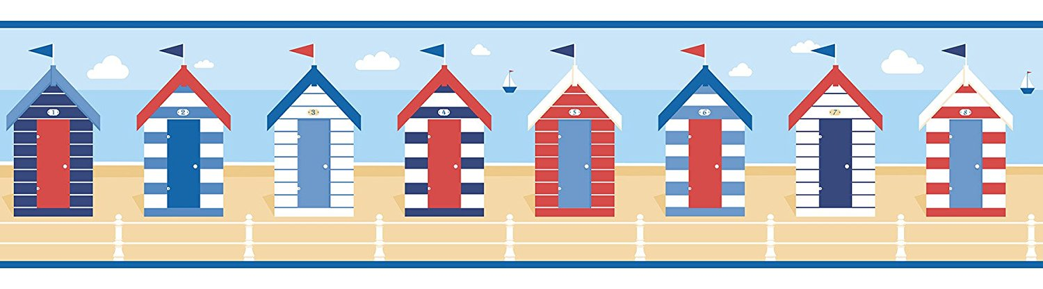 beach huts border wallpaper