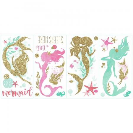 mermaid party wall decor stickers