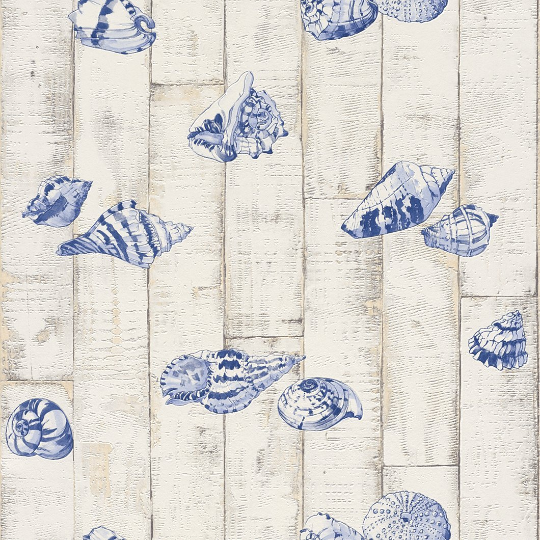 wood panel sea shell wallpaper