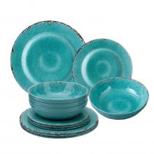 Melamine Crackle Dinnerware Set of 12