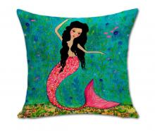 cartoon mermaid ocean pillow case cover